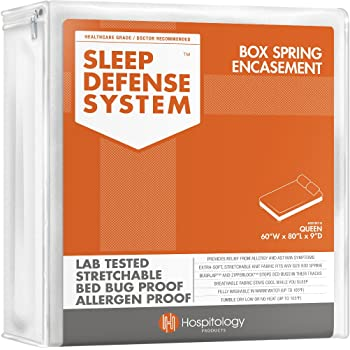 "HOSPITOLOGY PRODUCTS Sleep Defense System - Zippered Box Spring Encasement - Queen - Bed Bug & Dust Mite Proof – Hypoallergenic – 60"" W x 80"" L"