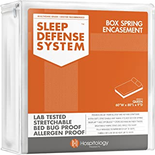 HOSPITOLOGY PRODUCTS Sleep Defense System - Zippered Box Spring Encasement - Queen - Bed Bug & Dust Mite Proof – Hypoallergenic – 60