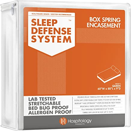 HOSPITOLOGY PRODUCTS Sleep Defense System - PREMIUM Zippered Bed Bug & Dust Mite Proof Box Spring Encasement & Hypoallergenic Protector - 60-Inch by 80-inch,  Queen