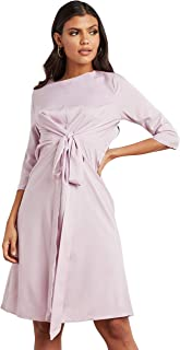 فستان متوسط الطول بتصميم عقدة ذاتية واكمام 3/4 للنساء