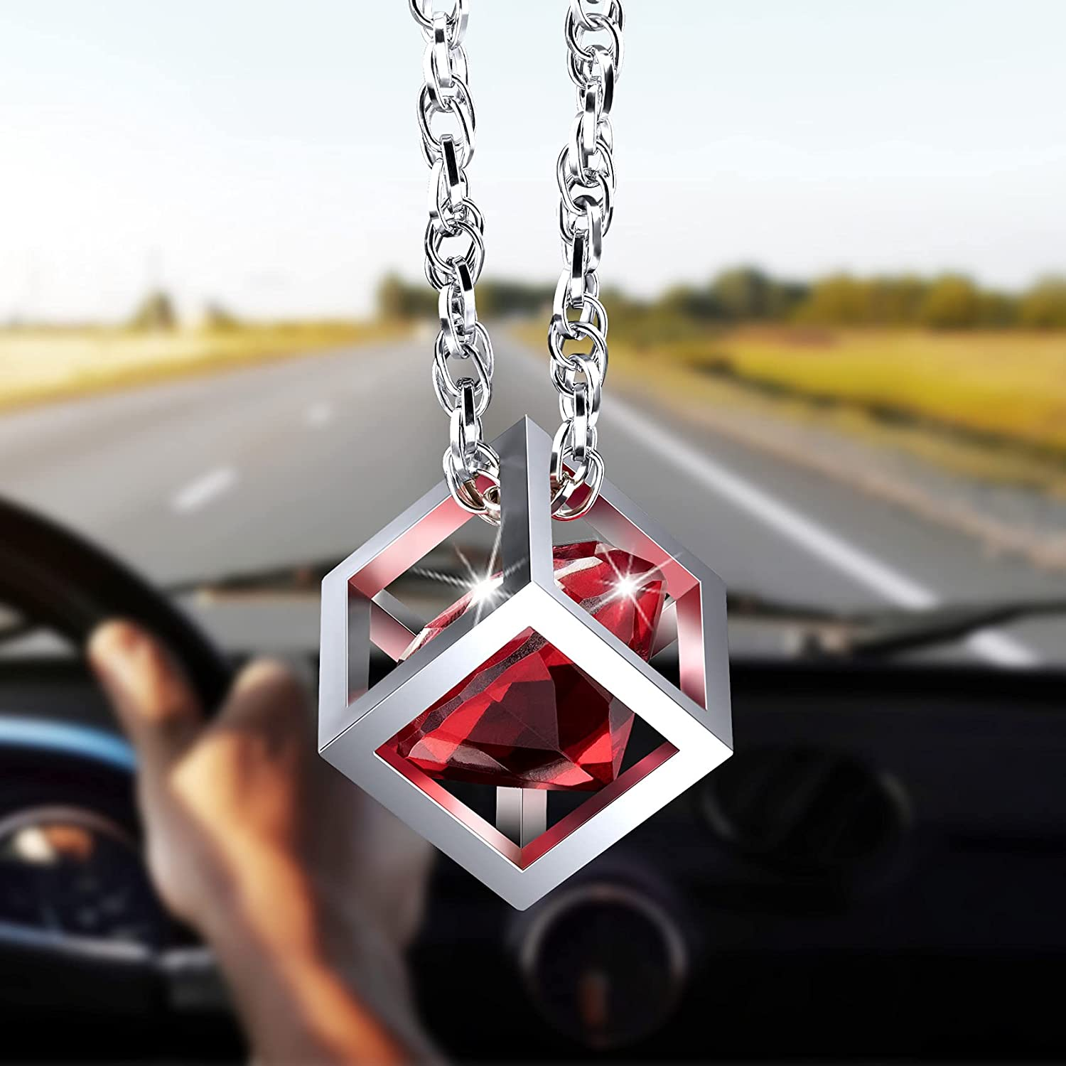 PAGOW Red Ranking TOP9 Popular overseas Diamond Cube Crystal Car Blin Mirror Charms Rear View