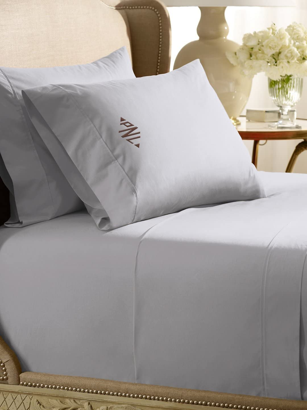 Amazon Com Ralph Lauren Home 464 Percale Pale Flannel Gray King Flat Sheet Home Kitchen