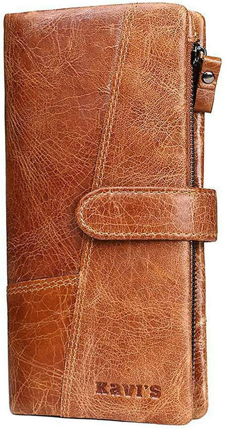 ACHKL Women Genuine Leather 19 Card Slots Long Wallet Phone Bag Coin Purse ACHKL (color   color Khaki, Size   OneSize)