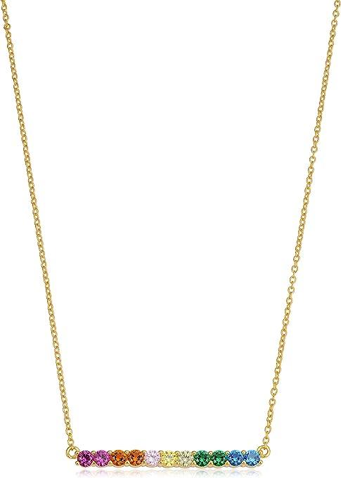 KoolJewelry Yellow Gold Over Sterling Silver Multicolored CZ Kaleidoscope Rainbow Bar Necklace (18 inch)
