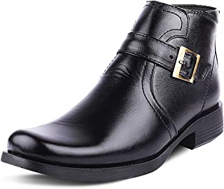Kanprom Men's Black Genuine Leather Casual Buckle Mid Ankle Zip Boots