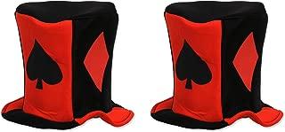 Beistle S60311AZ2 Card Suit Fabric Hats 2 Piece, OSFM, Red/Black