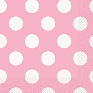 Unique Party 1 Powder Dots Lunch Napkins (Pack of 16) (UK Size: One Size) (Lovely Pink)
