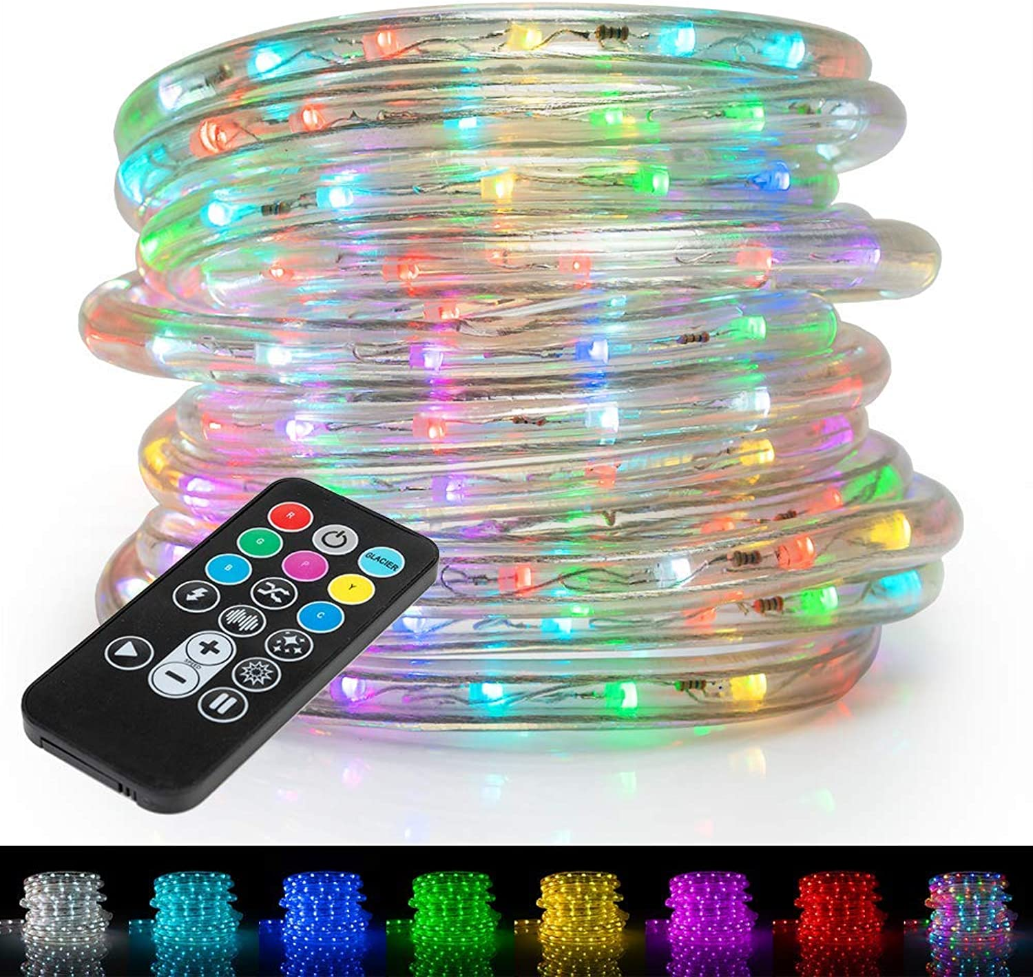West Ivory 1 2  (50' feet) Multi-colors + 8 color Modes & 4 Lighting Effects LED Rope Lights w Remote Controller 2 Wire Accent Extendable Holiday Christmas Lighting   ETL Certified