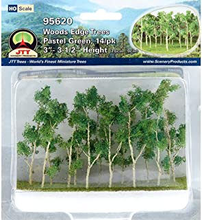 Woods Edge Trees Pastel Green 3'' to 3.5'' HO-scale 14/pk