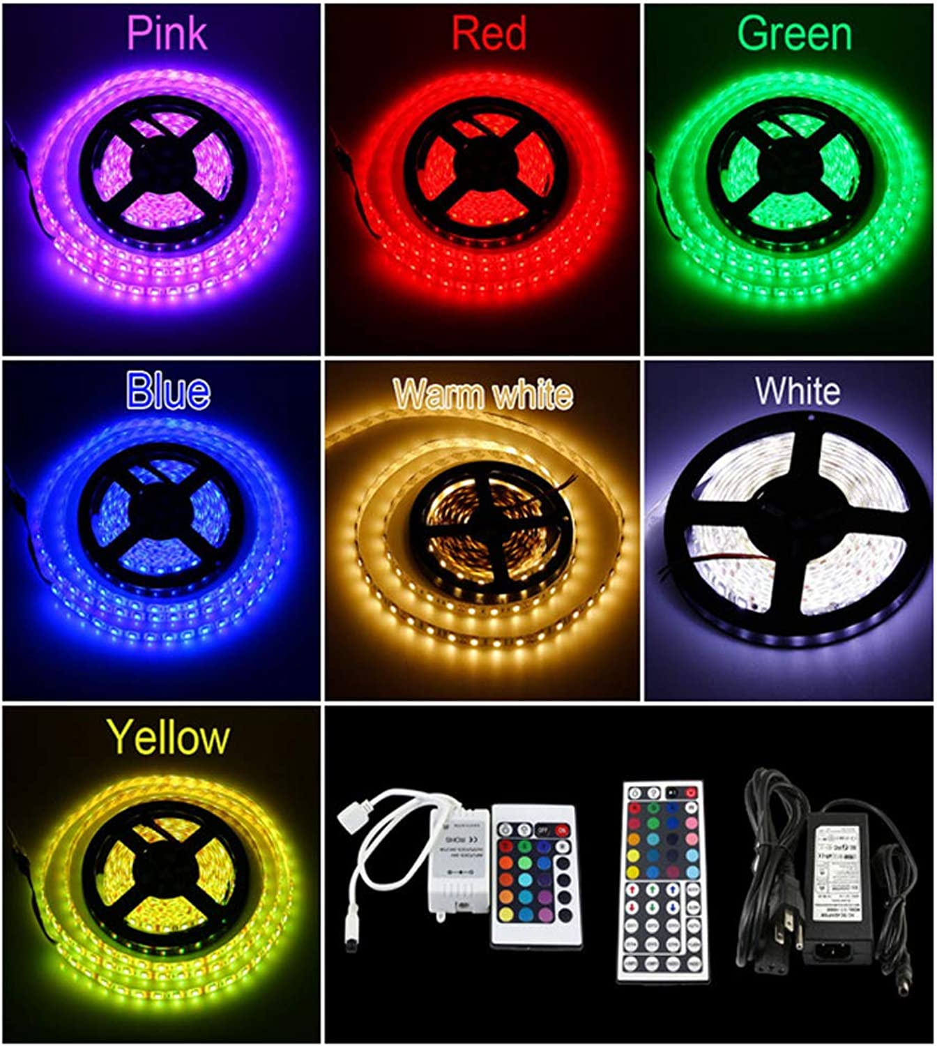 SELCNG Wasserdichte LED Strip, TV Hintergrundbeleuchtung, LED Strip, Strip Licht, Seilbeleuchtung, Küche LED Beleuchtung, 393in lamp with 300 lamp +44 button controller +5A