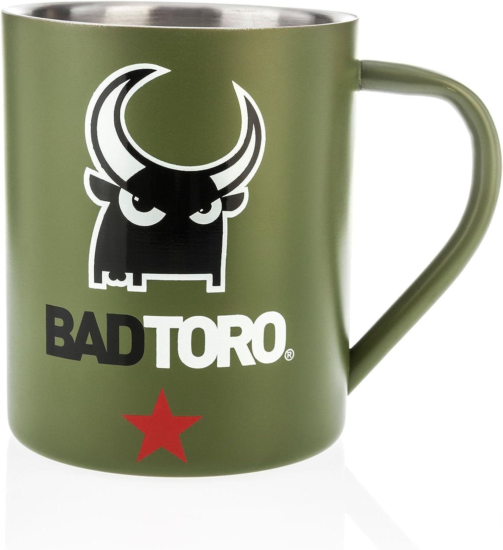 Badtoro - Taza Acero Inoxidable Resistente Verde y Plata interior (Verde, Acero_inoxidable): Amazon.es: Hogar