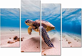 LevvArts - Canvas Prints Wall Art,Green Sea Turtle Cruises in Warm Waters of The Pacific Ocean in Hawaii Picture Modern Home Wall Decor,Stretched Gallery Canvas Wrap Underwater Ocean Giclee Print