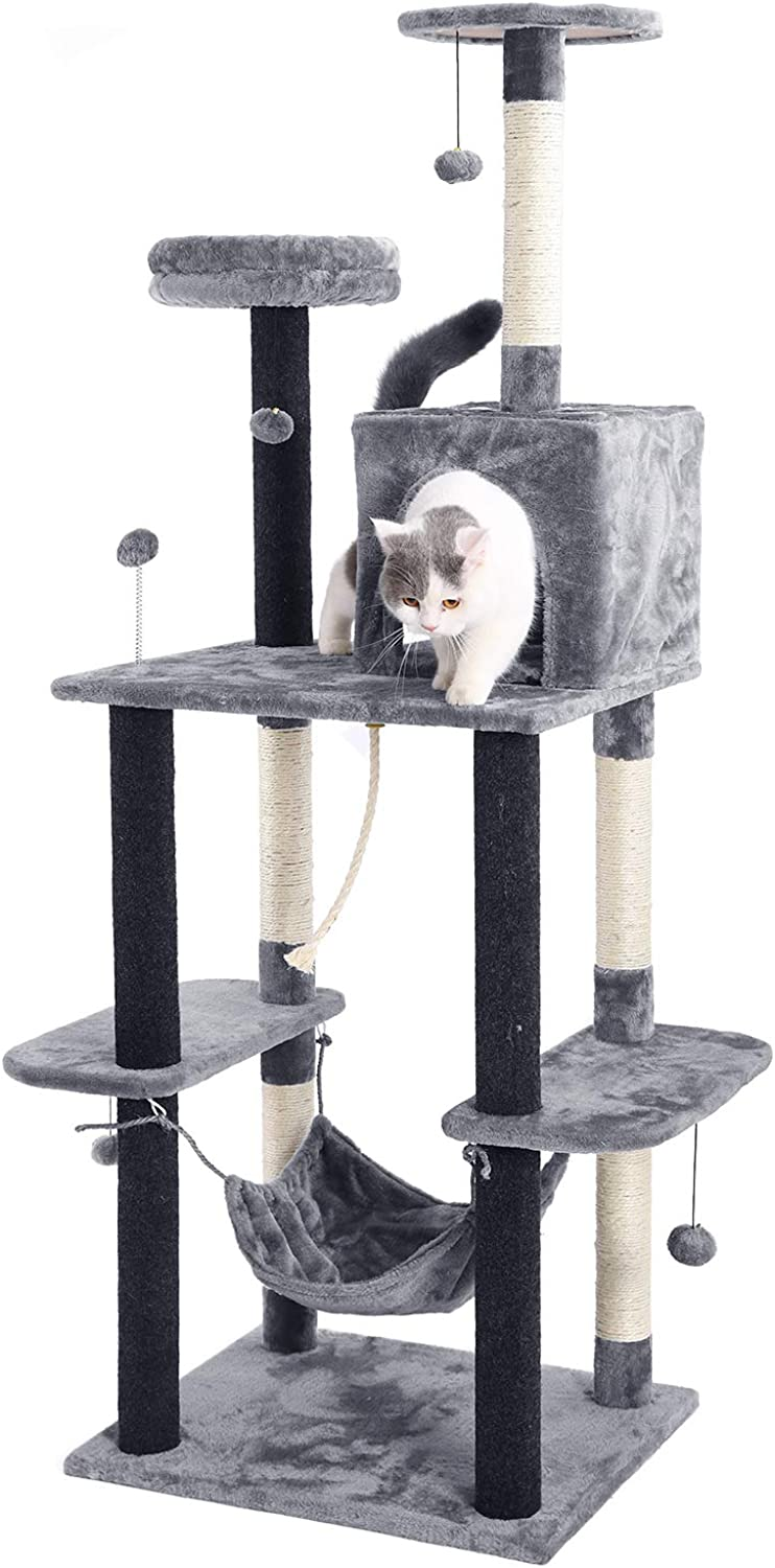 Ohana Cat Tree Tall with Scratcher Activity Center and Condos Cat Tower for Large Cats with Hammock H175CM Grey