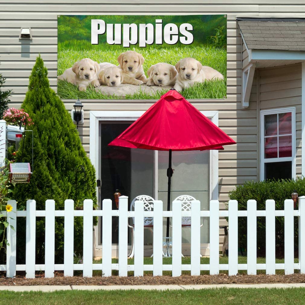 Vinyl Banner Multiple Sizes Puppies Business Business Outdoor Weatherproof Industrial Yard Signs Green 8 Grommets 48x96Inches