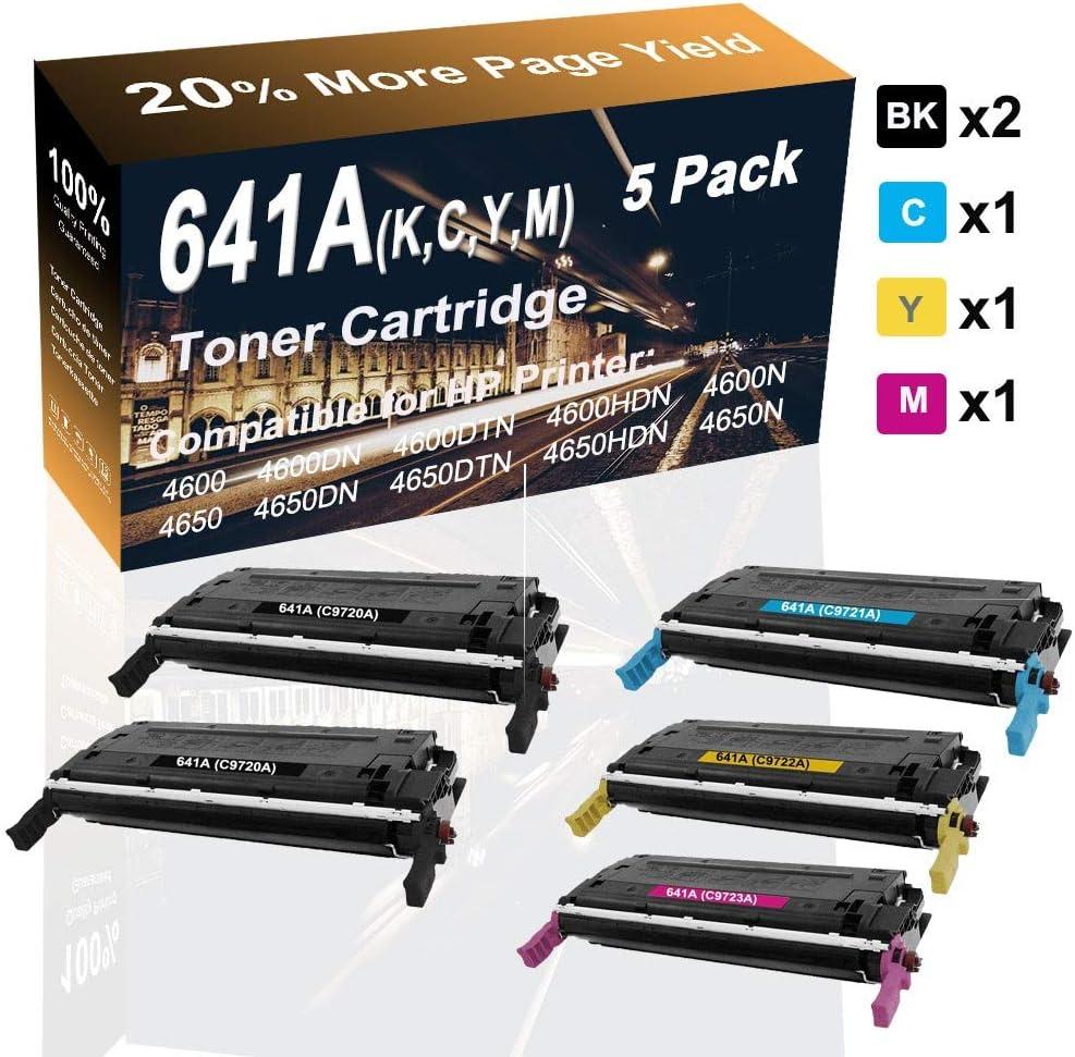 5-Pack (2BK+C+Y+M) Compatible Laser Toner Cartridge (High Yield) Replacement for HP 641A (C9720A C9721A C9722A C9723A) Printer Toner Cartridge use for HP 4650dn 4650dtn 4650hdn Printer