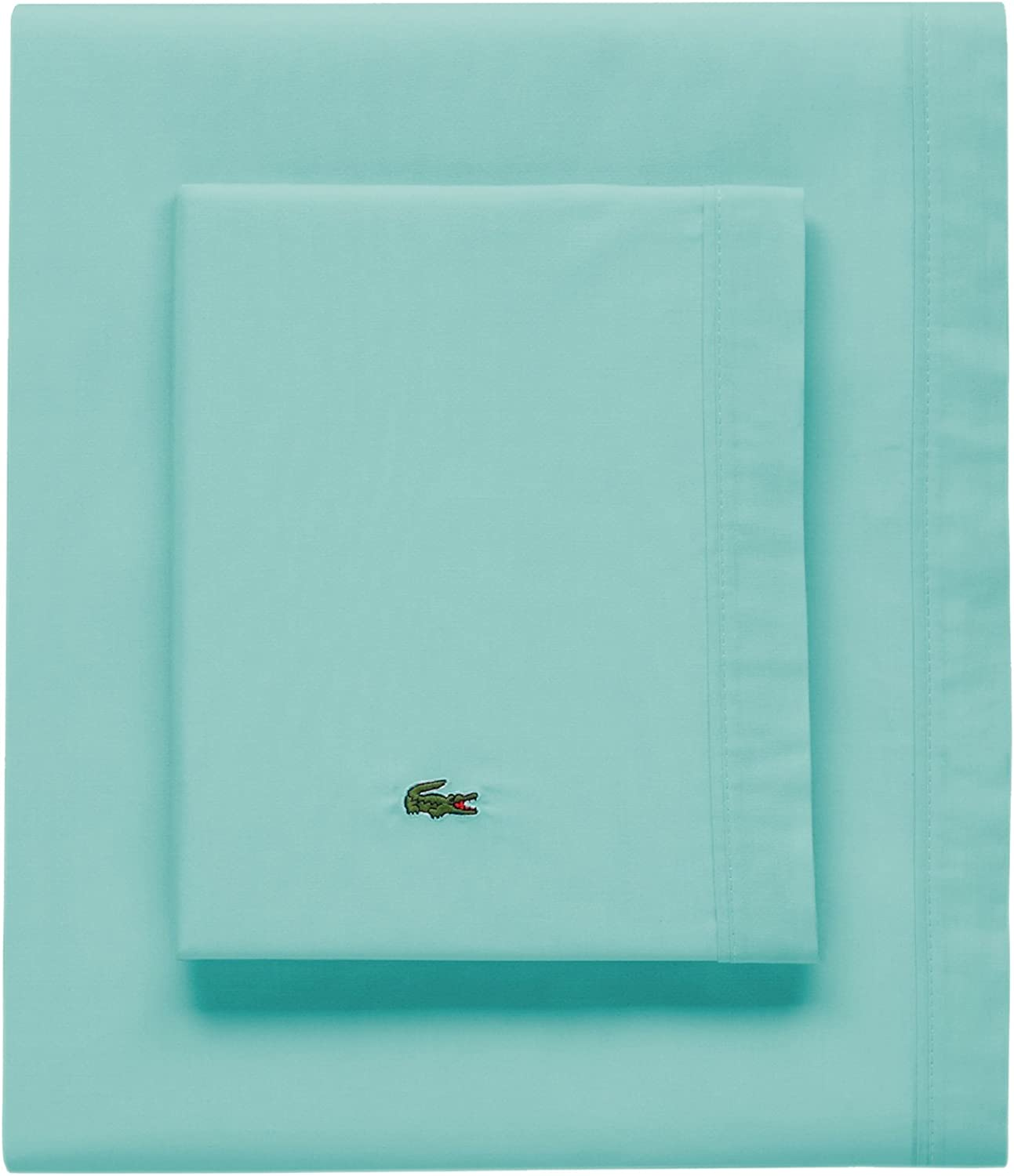 Lacoste 100% Cotton Percale Sheet Set, Solid, Water bluee, King