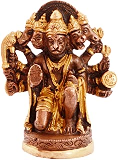Purpledip Hindu Religious Lord Hanuman/Bajrangbali Statue in Panch-mukhi Avatar: Sculpted in Solid Brass in Unique Copper Gold Finish for Home Temple, Office Table (11077)