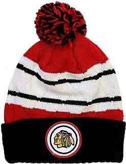 Mitchell & Ness NHL Jersey Stripe Hi Five Knit Hat with Pom
