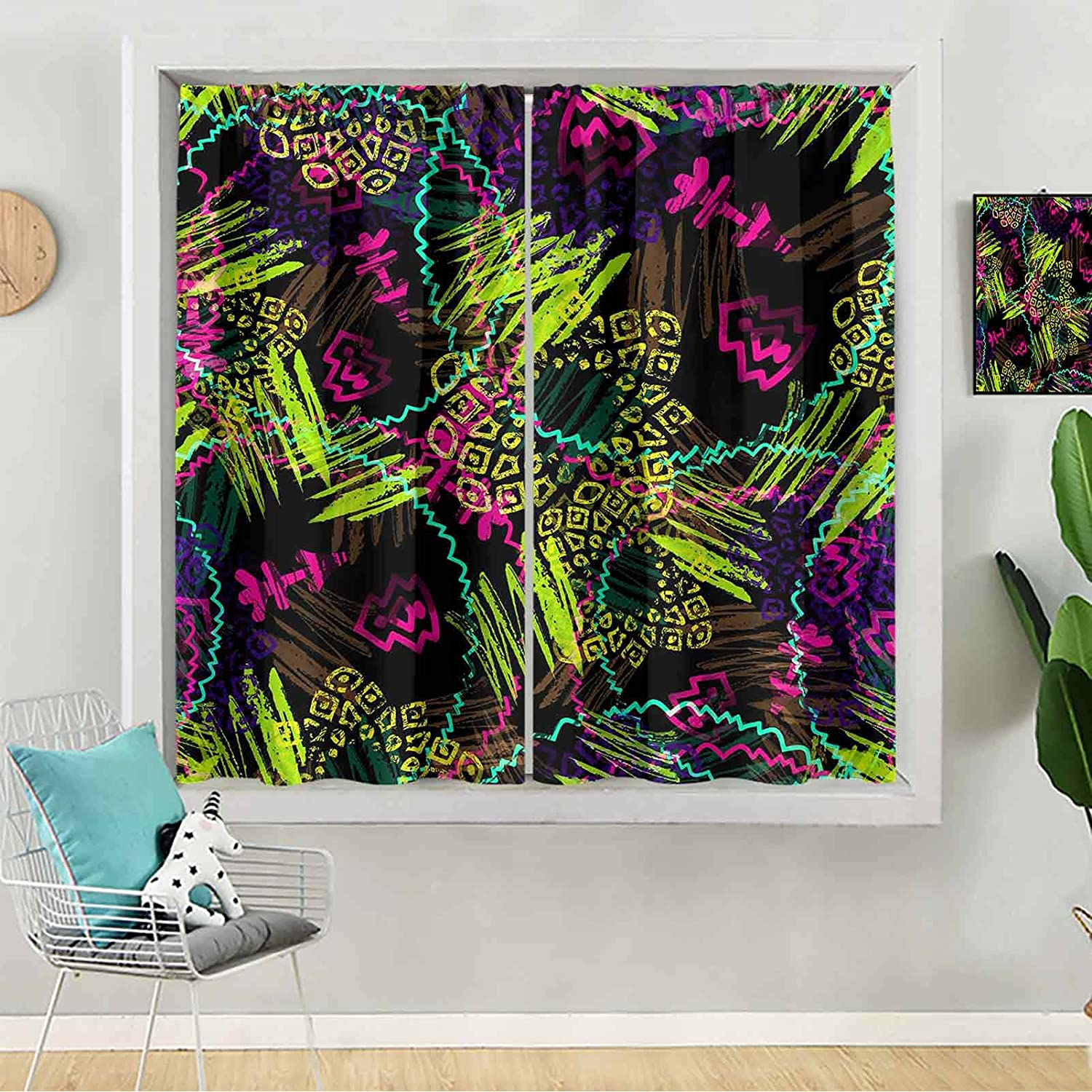 Bedroom Blackout Curtains All stores are sold Seamless Pattern of Super sale period limited Violet Watercolor