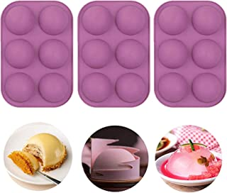 3 PCS Semi Sphere Silicone Chocolate Mold with 6-Cavity, BPA Free Cupcake Baking ,Baking Mold for Making Chocolate Bomb, C...