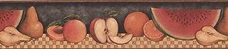 Wallpaper Border Sliced Apple Pear Peach Watermelon on Table Food 15'x5.25