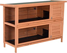 """PawHut 54"""" Raised Compact Dual Outdoor Wooden Rabbit Hutch Small Animal Cage With Trays"""