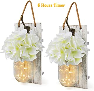Rustic Wall Sconces Mason Jars Sconces with Timer LED Fairy Lights, Farmhouse Decor for Living Room Wall Decor of Bronze Retro Hooks, Silk Hydrangea Design for Home Decoration Set of Two