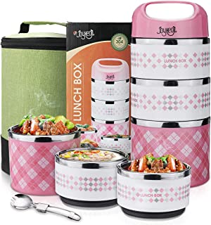 Stackable Lunch Box, JOYXEON Portable Stainless Steel 304 Bento Lunch Box with Thermos 3-Tier Insulated Food Container 43oz, BPA free, with 600D Oxford washable Lunch Bag & foldable 2-in-1 Spoon Pink