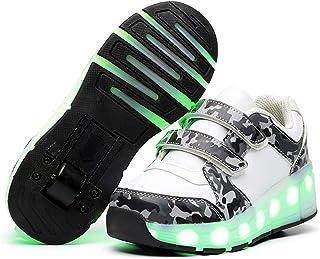RSBCSHI Les Patins à Rouleaux de Chargement USB des Enfants Ont mené des Chaussures à Deux Roues à Deux Roues éclairant Le...