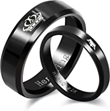Uloveido 2pcs His Queen and Her King Couple Rings Titanium Stainless Steel Promise Rings Matching Set Wedding Engagement Band Valentine's Day Couples Gifts (Black, Gold) SN140