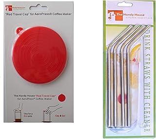 ステンレススチールストロー付きのAeroPressコーヒーメーカー用の赤いキャップ。
