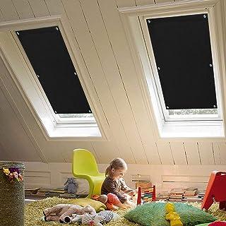 KINLO 57 x 100cm Techo Solar Persiana Enrollable Aislamiento Térmico Protector Solar Apagón para Claraboya Ventanilla del Coche Protección UV con Ventosa sin Perforación o Pegamento Color Negro