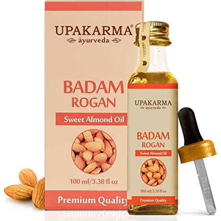 UPAKARMA Ayurveda Pure and Natural Cold Pressed Sweet Almond/Badam Rogan Oil Promotes Healthy Looking Skin, Hair, and Nails - 100ML/3.38 fl. Oz - Pack-1