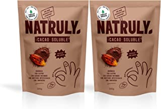 NATRULY Cacao en Polvo Sin Azúcar Refinado, Cacao Soluble Orgánico, Sin Gluten, Sin Lactosa, Solo 25% Azúcar de Coco -Pack...
