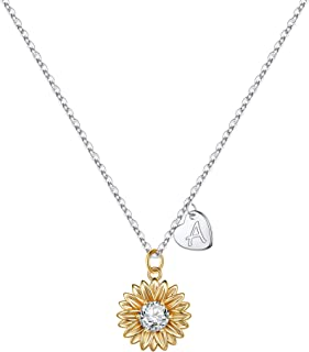 MONOZO Initial Sunflower Necklace for Women Girls, 14k Gold Plated Sunflower Necklace Pendant CZ Heart Letter Initial Neck...