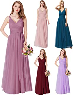 cd2744b0768 Ever-Pretty Vestido de Fiesta Noche Largo Cuello V Ceremonia Dama de Honor  para Mujer