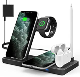 WAITIEE Updated Version,Wireless Charger 5 in 1,Qi Wireless Charging Station for iWatch 6/5/4/3/2/1& AirPods3/2/1 & Pencil...