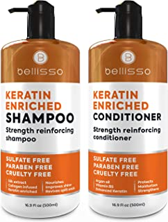 Keratin Shampoo and Conditioner Set - Sulfate Free Deep Treatment with Morrocan Argan Oil - Anti Frizz for Dry Hair and Extra Shine