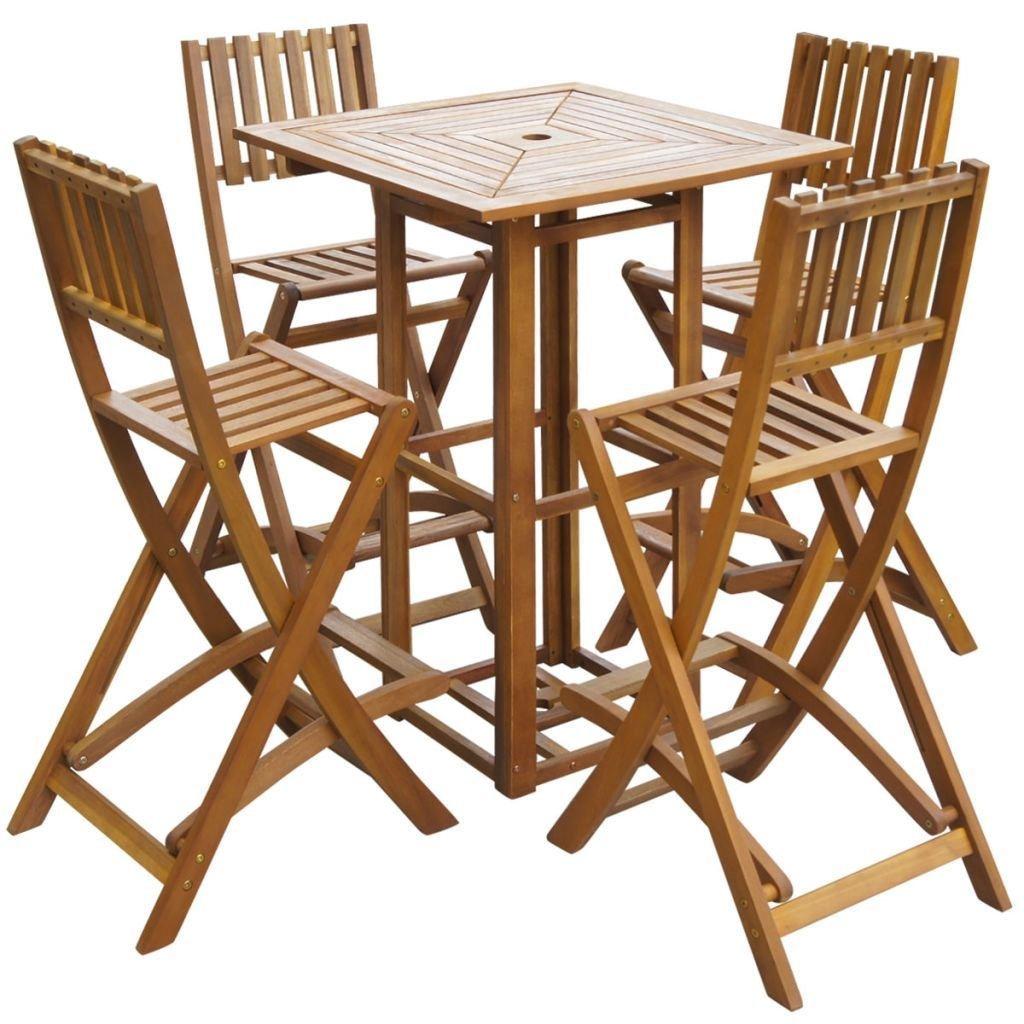 SSITG 5 piezas barset Jardín Bar Sillas para muebles de jardín de madera de acacia: Amazon.es: Jardín