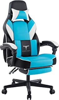 TOPSKY High Back Racing Style PU Leather Executive Computer Gaming Office Chair Ergonomic Reclining Design with Lumbar Cushion Footrest and Headrest (New Black&Blue) …