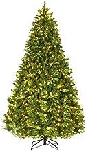 Goplus 8Ft Pre-Lit Artificial Christmas Tree Premium Spruce Hinged Tree w/ 600 LED Lights & Pine Cones