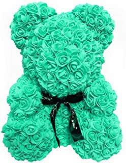 Homentum Rose Bear Teddy Forever Artificial Flowers are The Best Gifts for Valentine's Day, Anniversaries, Birthdays, Weddings (Small, Green)