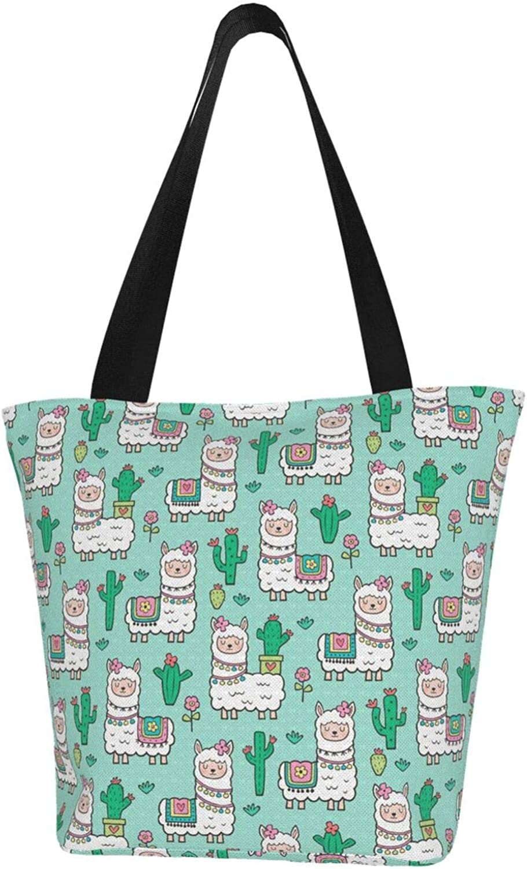 Llama Peppermint Green Cactus Girl Themed Printed Women Canvas Handbag Zipper Shoulder Bag Work Booksbag Tote Purse Leisure Hobo Bag For Shopping