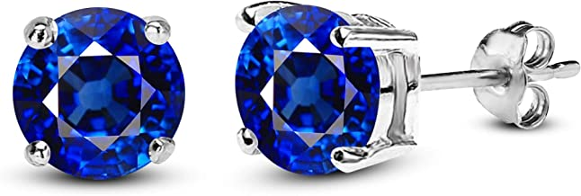 Gemstar Jewellery 925 Sterling Silver Round Blue Sapphire 14K White Gold Plated Stud Solitaire Earrings