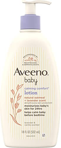 Aveeno Baby Calming Comfort Moisturizing Lotion with Relaxing Lavender & Vanilla Scents, Non-Greasy Body Lotion with ...