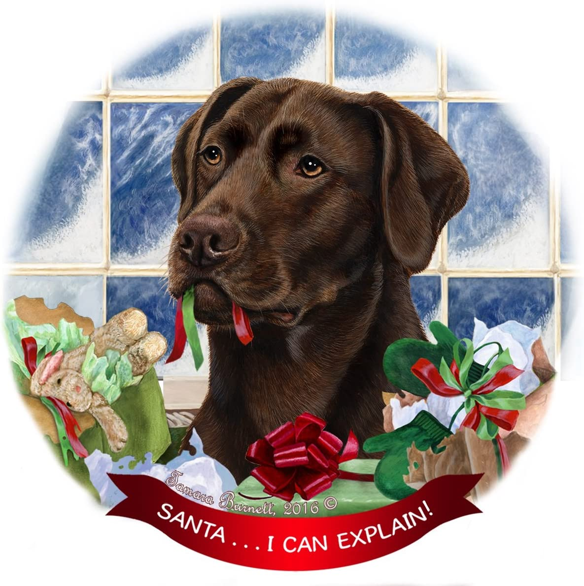 Chocolate Labrador Lab 5 ☆ popular Dog Porcelain Gift 'Santa.. Japan Maker New Ornament Pet
