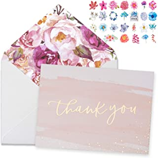 PK 16 Girls Female Pink Thank You Cards 4 Various Designs to Select for Birthday