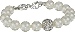 10mm Round Pearls and CZ Silver Bracelet 7.5-8.5""