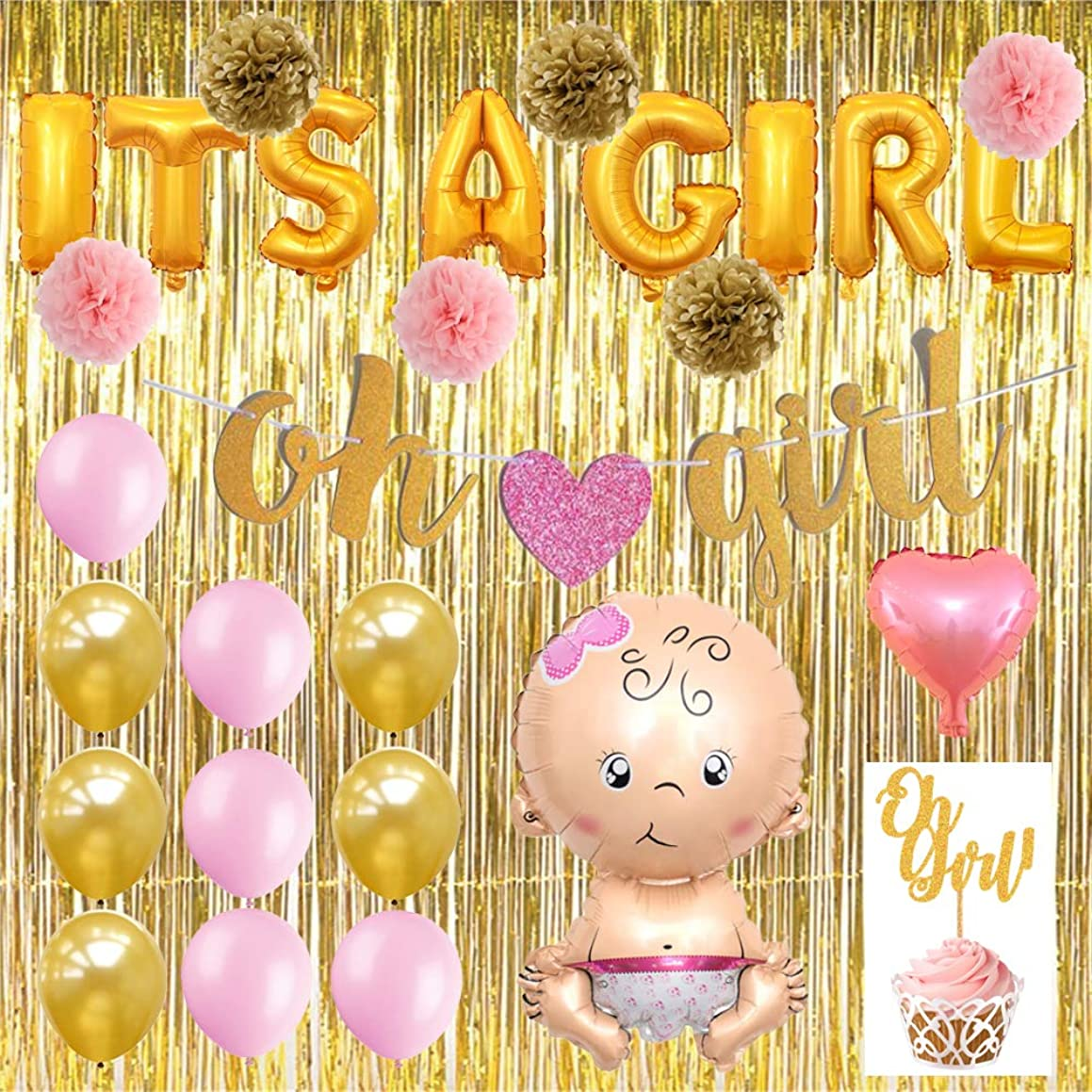 YOLO PRODUCTS Baby Shower Decorations for Girl|It's A Girl Gold Foil Balloon Banner|Bonus Gold Fringe Curtain|Pink Heart Foil Balloon|Baby Foil Balloon|Paper Oh Girl Banner| Premium Latex Balloons