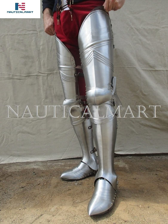 NAUTICALMART Halloween Leg Guards Gothic Steel Legs 14601500 Armor, Upper Leg Knees and Greaves, Sabaton SCA